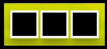 Rahmen 3fach Zitrone glänzend Glas Kontakt Simon 54 Nature DRN3/90
