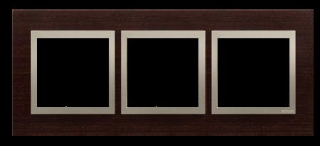 Rahmen 3fach gold Wenge matt Holz Kontakt Simon 54 Nature DRN3/85