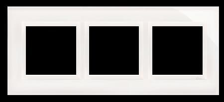 Rahmen 3fach perlweiß glänzend Glas Kontakt Simon 54 Nature DRN3/70