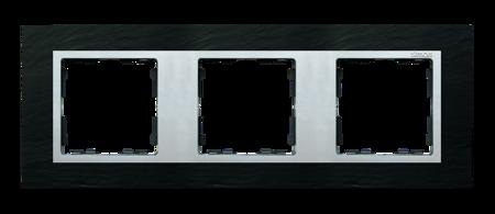 Rahmen 3fach schiefer/ Zwischenrahmen aluminium matt Kontakt Simon 82 82937-63