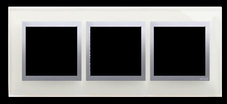 Rahmen 3fach silber glänzend Glas Kontakt Simon 54 Nature DRN3/71