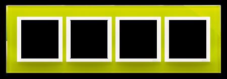 Rahmen 4fach Zitrone glänzend Glas Kontakt Simon 54 Nature DRN4/90