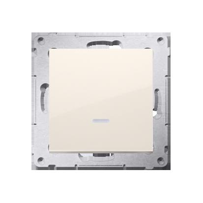 Schalter (Modul) mit LED (blaue Linse) cremeweiß matt Kontakt Simon 54 Premium DW1AL.01/41