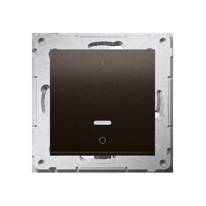 Schalter zweipolig mit LED und Aufdruck Braun matt Kontakt Simon 54 Premium DW2L.01/46