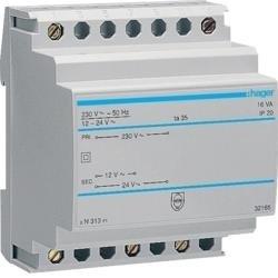 Sicherheitstrafo 230V / 12V und 24V 16VA 4PLE Hager ST313