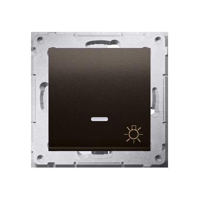 """Taster 1fach (Modul) mit Aufdruck """"Licht"""" und LED braun matt Kontakt Simon 54 Premium DS1L.01/46"""