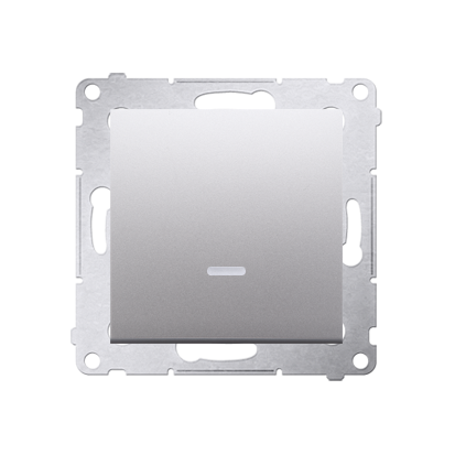 Taster 1fach mit LED Silber matt Kontakt Simon 54 Premium DP1AL.01/43