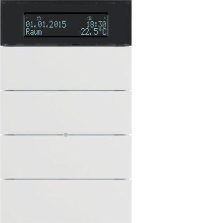 Tastsensor 4fach mit Temperaturregler und Display B.IQ  polarweiß matt Hager 75664599