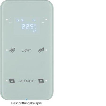 Touchsensor 2fach mit Temperaturregler R.1 Glas konfiguriert polarweiß Hager 75642160