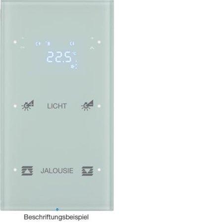 Touchsensor 2fach mit Temperaturregler R.3 Glas konfiguriert polarweiß Hager 75642150