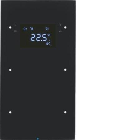 Touchsensor 2fach mit Temperaturregler R.3 Glas schwarz Hager 75642055