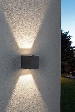 Wandaufbauleuchte, Außen Cybo LED quadratisch grau 2x3W 2700K 213lm IP65 Paulmann