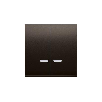 Wippen für Schalter/Taster 2fach mit roter Linse braun matt Simon 54 Premium Kontakt Simon DKW5L/46