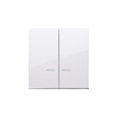 Wippen für Schalter/Taster 2fach mit roter Linse weiß glänzend Kontakt Simon 54 Premium DKW5L/11